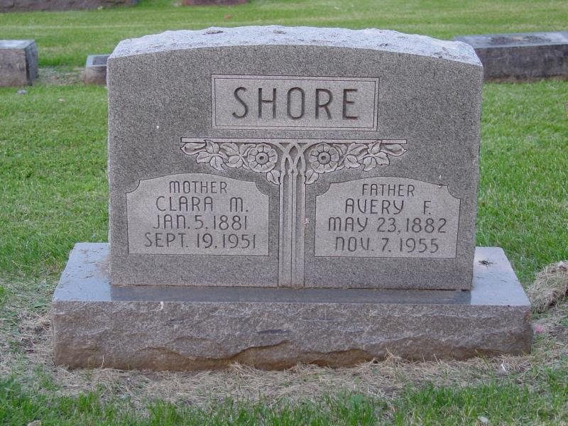 Avery and Clara Shore tombstone
