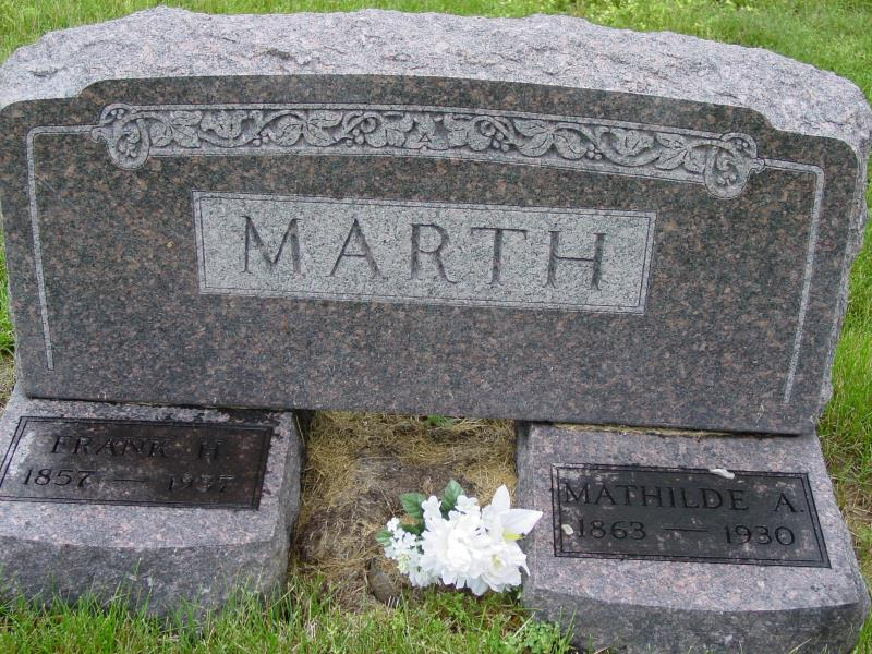 Frank and Mathilde Marth Tombstone