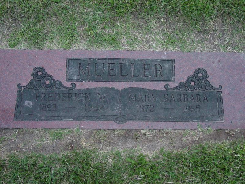 Fred W. and Mary Barbara Mueller Tombstone