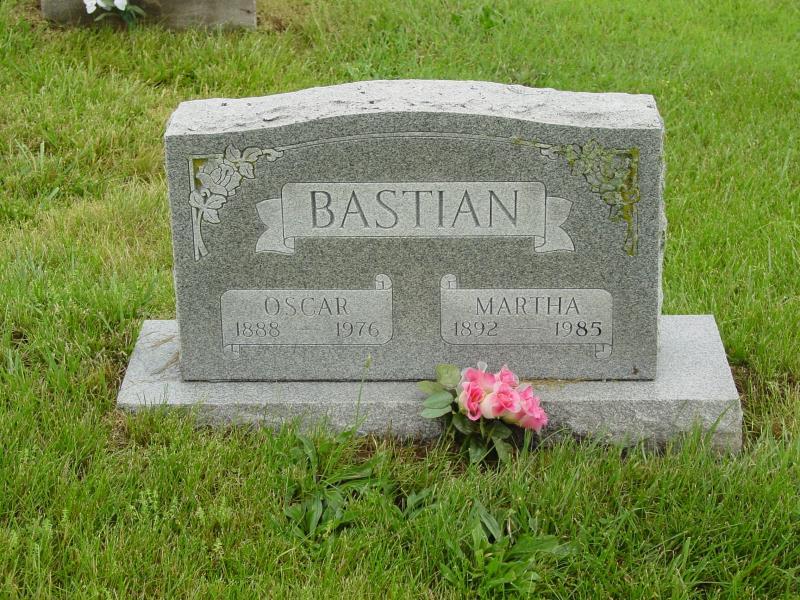 Oscar and Martha Bastian Tombstone